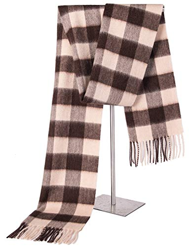 (Cashmere Wrap Shawl Stole for Women, Winter Extra Large(79in x 28in) Wool Scarf (CREAM CHECK) )