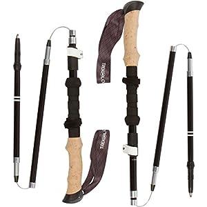 Trekology TREK-Z Collapsible Tri-fold Trekking Pole / Hiking Poles - Adjustable Lightweight Aluminum Walking Sticks, Portable Trail Cane with Cork Grip for Walking, Senior Trekking, Hike, Backpacking
