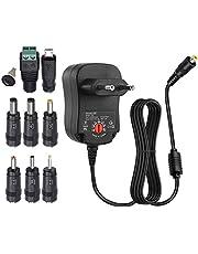 EasyULT Draagbare voeding, 12 W universele AC/DC adapter schakelvoeding met 8 verschillende adapterkoppen voor 3V-12V huishoudelijke elektronica (1000mA max)