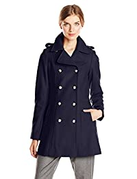 Via Spiga Women's Double Breasted Military Wool Coat with Gold Buttons