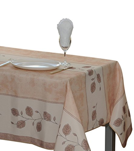 63-Inch Round Tablecloth Beige Leaf, Stain Resistant, Spill Proof, Liquid Spills bead up, Seats 4 to 6 People (Other Size Available: 60x80-Inch, 60x95-Inch, ()