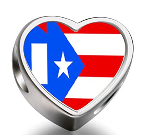 Puerto Rico flag Heart Silver Plated Charms Bracelet Necklace Beads Waist Beads 6mm Hole Craft Metal Beads floating Charms for Women (Design Fashion Rico)
