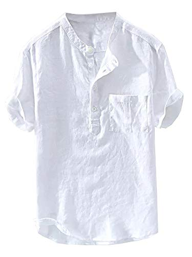 Gtealife Mens Casual Henley Linen Shirt Short Sleeve T Shirt Pullovers Tees Retro Frog Button Cotton Shirts Beach Tops (Large, D-White)