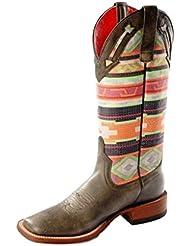 Macie Bean Western Boots Womens Marfa Roper Black Cracktacular M9081