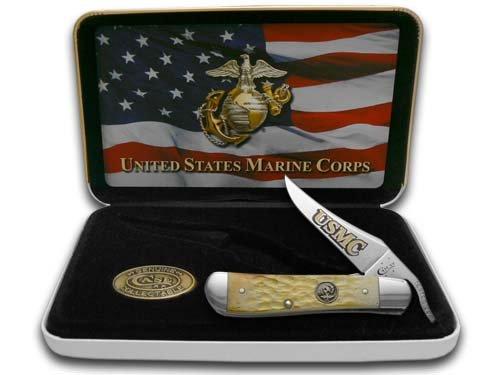 Case U. S. Marine Corps 13182 Burnt Cream Bone Handle Jigged Russ Lock Knife