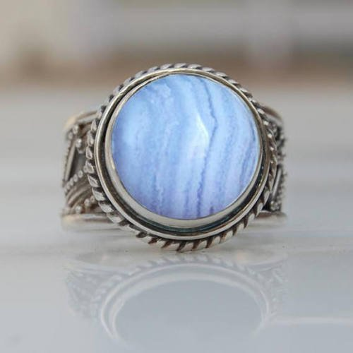 Amazon com: Blue Lace Agate Mens Silver Ring, Metaphysical Healing