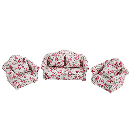 FTVOGUE 1/12 Scale Dollhouse Accessories Flower Pattern Mini Furniture Sofa Set with Back Cushions(#2)