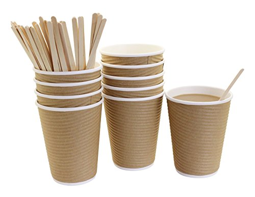 50 Disposable Brown Insulated Ripple Paper Coffee Cups Hot, 12 Ounce, with 50 Wood Stirrers Coffee Stir Sticks