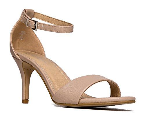 Low Ankle Strap Work Heel, Beige PU, 7.5 B(M) US