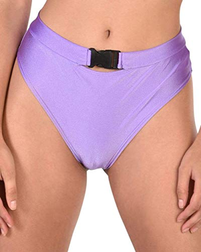 iHeartRaves Meshin with Me Buckle High Waisted Booty Shorts (Purple, Medium) -