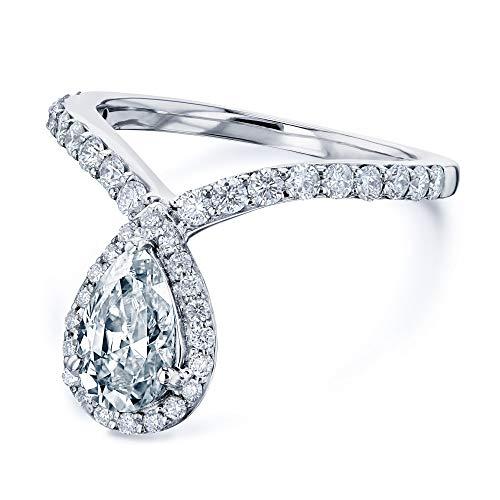 (Pear Drop Moissanite V-Shape Ring - 11.0 / Forever One D-E-F)