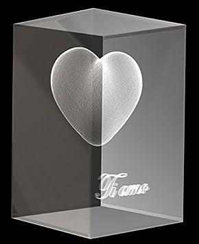 VIP-LASER 3D Glaskristall XL 3D Herz mit Text /'I love you/' graviert