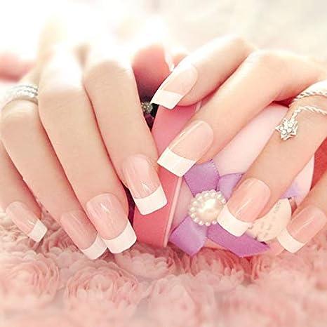 Juego de uñas postizas rosas, 24 unidades de uñas falsas y ...