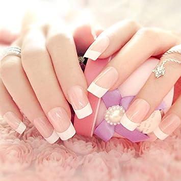 Juego de uñas postizas rosas, 24 unidades de uñas falsas y elegantes al tacto, manicura francesa con pegamento, cubierta completa, longitud media
