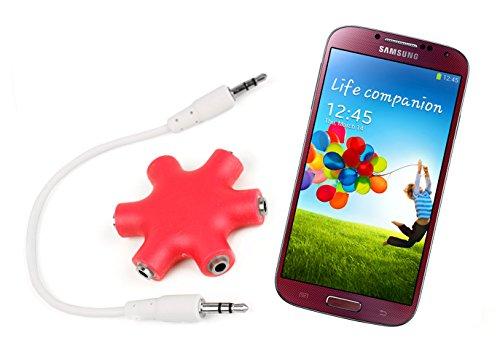 DURAGADGET Bright Red 5-Way Headphone Splitter Star for Samsung Galaxy S4 & Samsung Galaxy S4 Zoom & Samsung Galaxy Discover S730M from DURAGADGET