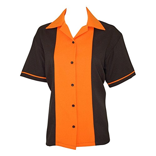 Womens Retro Bowling Shirt Classic 50's - 5 Colors Orange ()