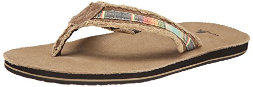 Sanuk Men's Fraid So Flip Flop, Tan/Multi, 9 M US