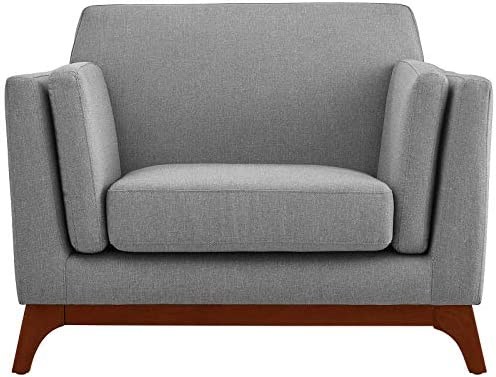 Modway Chance Mid-Century Modern Upholstered Fabric Accent Lounge Arm Chair In Light Gray