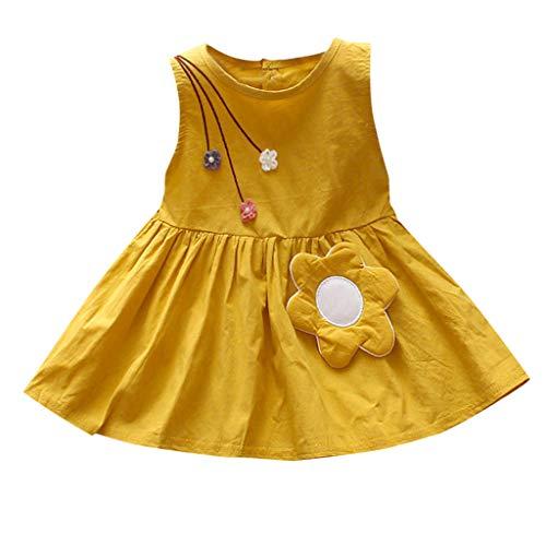 MOGOV Toddler Kid Baby Girl Summer Short Sleeve Casual Flower Print Decoration Princess Dress Sundress Clothes Yellow ()