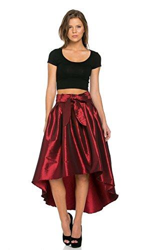 SOHO GLAM Burgundy Pleated High-Low Taffeta Midi-Skirt (Plus Sizes Available) by SOHO GLAM