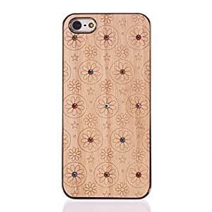 ZXC Diamond Look Flowers Carved Wooden Golden PC Hard Case for iPhone 5/5S