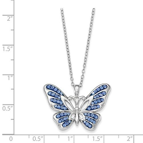 18 Swarovski Crystal Never Give Up Butterfly Pendant Necklace Rhodium-Plated Sterling Silver 19x31MM