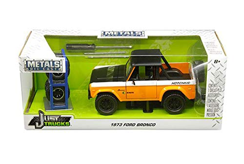 New DIECAST Toys CAR JADA 1:24 W/B - Metals - JUST Trucks with Extra Wheels - 1973 Ford Bronco (Orange/Matte Black/White) 31058-MJ