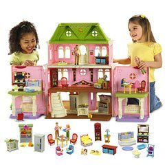 Fisher Price Loving FamilyTM Grand Dollhouse Super Set (Caucasian Family) by Fisher-Price