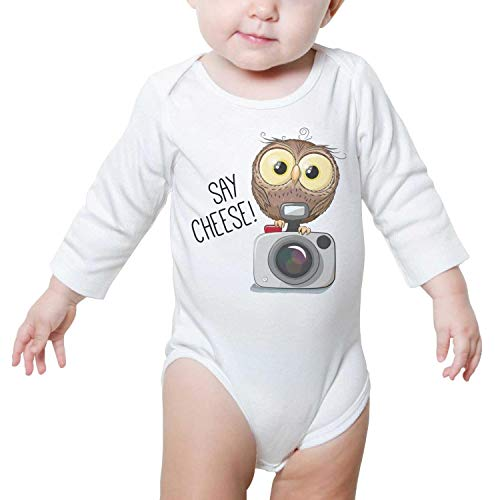 Price comparison product image Ngjdshfk Babies Owl with a Camera Cotton 0-24 Months Summer Long Sleeve Baby Onesie Bodysuit
