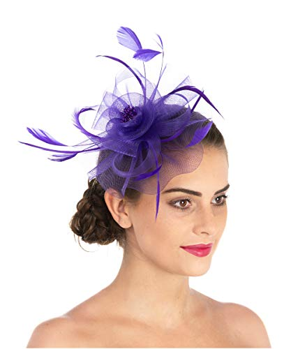 Lucky Leaf Women Girl Fascinators Hair Clip Hairpin Hat Feather Cocktail Wedding Tea Party Hat (7-Purple)