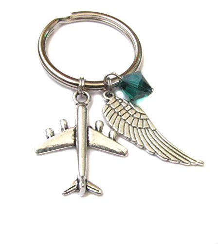 Airplane Angel Wing Charm, Archangel Raphael Swarovski Crystal Keychain Bag Charm Pilot Flight Attendant Gift
