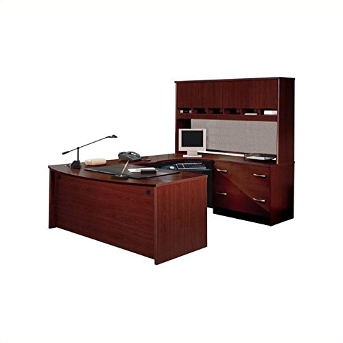Mahogany Set Hutch (Bush Furniture Corsa Series U-Shape Wood Home Office Set with Hutch in Mahogany)