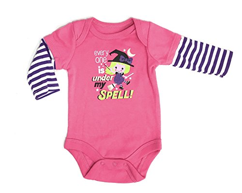 Assorted Witch, Pumpkin, Cat, Skeleton, Ghost Baby Boys & Girls Halloween Long Sleeve Bodysuit Dress Up Outfit (6-9 Months, Under her Spell)