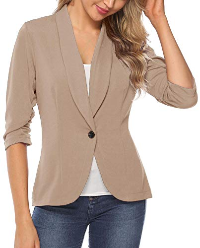 iClosam Women Blazer Jacket 3/4 Ruched Sleeve Open Front Lightweight Work Office Cardigan (Khaki, Large)