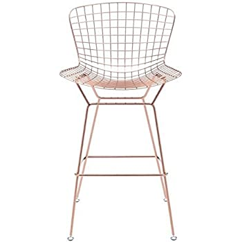 Zuo Modern Set of 2 Wire Bar Chairs, Rose Gold