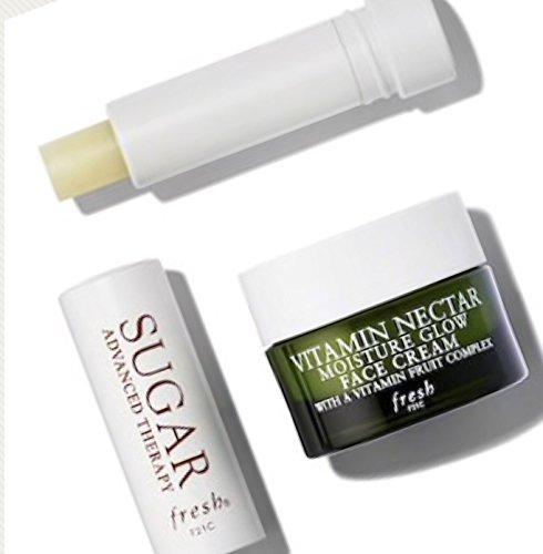 Fresh 2 Piece Travel Set Vitamin Nectar Moisture Glow Face Cream .23 Ounce Plus Advanced Therapy Lip Treatment .07 (Moisture Plus Cream)