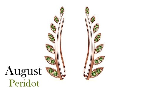 Peridot Cuff - Simulated Peridot Ear Crawler Cuff Earrings 14k Rose Gold Over Sterling Silver Climber Studs Olive Leaf
