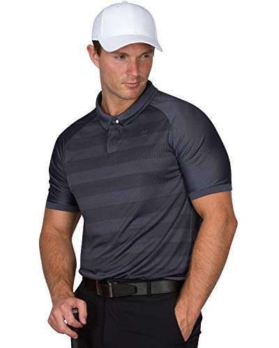 (Three Sixty Six Golf Polo Shirts for Men - Dry Fit Collared Golf Polos - Lightweight and Breathable, Stripe Design Storm Grey)