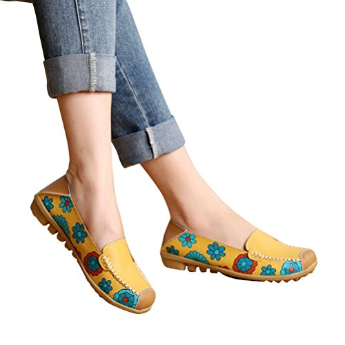 WHENOW Women's Comfortable Slip On Boat Ballet Flat Shoes Driving Shoes Pregnant Women Shoes Yellow EU 40(US (Shoes For Women Online)