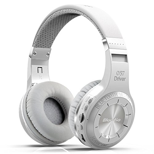 Bluedio H Plus (Turbine) Wireless Bluetooth Headphones V4.1 Bass Stereo Over-ear Headset with Mic FM Radio Support SD Card for iPhone Samsung (White) ()