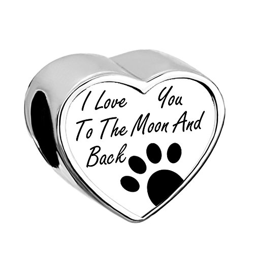 LovelyJewelry I Love You To The Moon and Back Charms (Paw Pet Charms)