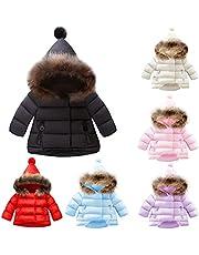 Baby Girls Boys Hooded Snowsuit Kids Winter Warm Coat Fur Collar Down Windproof Jacket Outerwear