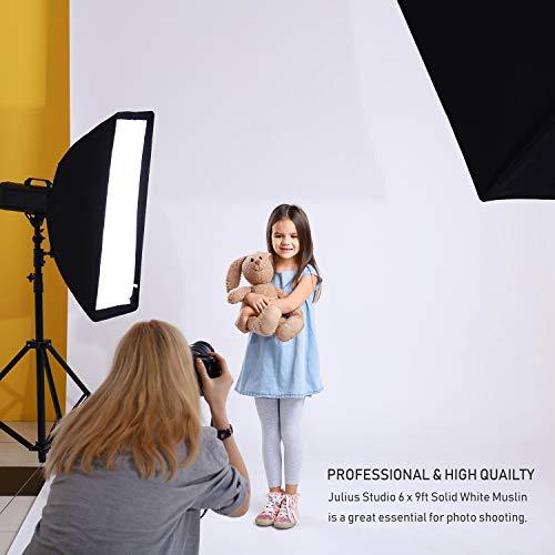 Julius Studio 6 x 9 ft. / 1.8 x 2.8 M/White Photo Video Photography Studio Fabric 100% Pure Muslin Backdrop Background Screen, JSAG103