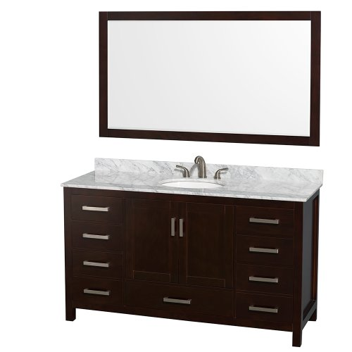 Wyndham Collection Sheffield 60 Inch Single Bathroom Vanity In Espresso,  White Carrera Marble Countertop, Undermount Oval Sink, And 58 Inch Mirror