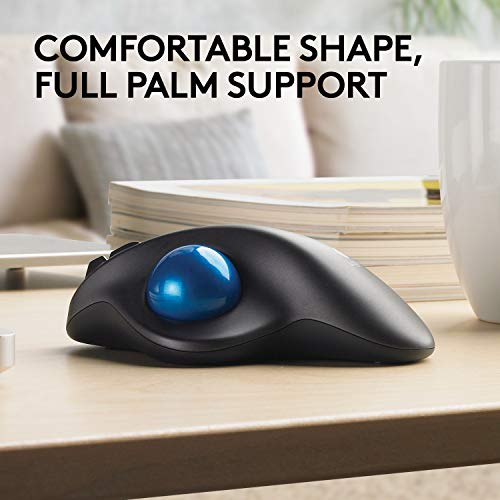 Logitech M570 Wireless Mouse Trackball for Windows, Mac (UK Model) - Black