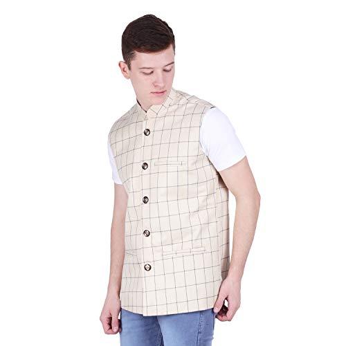 41AnzR7m8GL. SS500  - BIS Creations Men's Tweed Cotton Nehru Jacket - Waistcoat