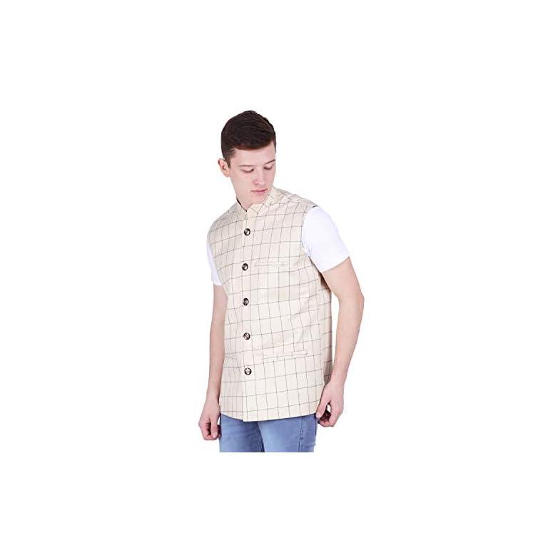 41AnzR7m8GL. SS768  - BIS Creations Men's Tweed Cotton Nehru Jacket - Waistcoat