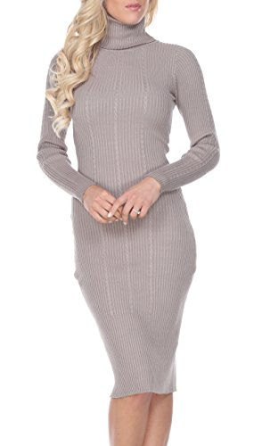 Stanzino Women Turtleneck Sweater Dresses - Ladies Long Sleeve Sweater Dresses Extra Stretch