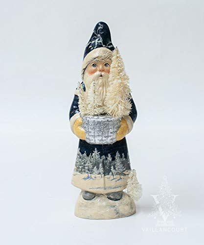 Blue Santa with Silver Bowl and Winter Scene