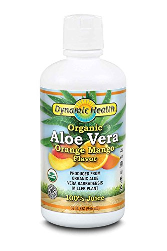 Dynamic Health Organic Certified Aloe Vera Juice, Orange & Mango Flavor, 32-Ounce